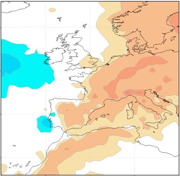 Anomalía de temperaturas, modelo Copérnicus