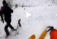 Imponente bajada con un grueso destacable de nieve