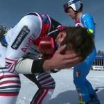 Mathieu Faivre no puede contener la emoción de saberse campeón del mundo tras la caída de su compatriota Alexis Pinturault.