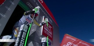 Kajsa Vickhoff Lie en el momento de tomar la salida en el super G de Val di Fassa, donde se lesionó de gravedad.