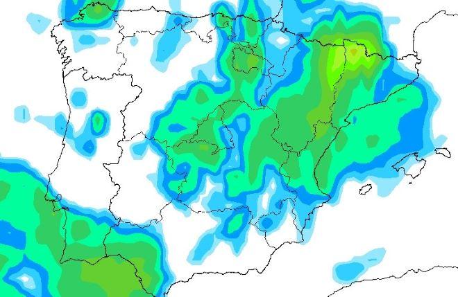 Ubicación de las precipitaciones de cara al lunes