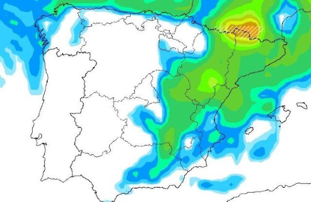 El grueso del frente frío llegará el lunes de pleno a los Pirineos