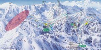 Imagen del nuevo plano de pistas de Cerler,en rosa el área de Castanesa