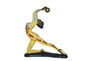 "Ballet Dancer with a Ball Bronze Statue -  Size: 12""L x 6""W x 14""H."