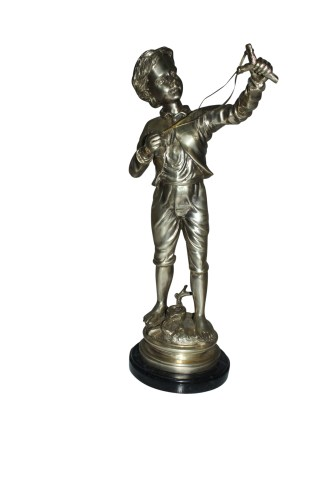 "Boy with a Sling Bronze Statue -  Size: 10""L x 6.5""W x 21.5""H."