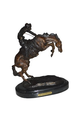 "Bronco Buster by Remington Bronze Statue -  3"" x 7"" x 10""H."