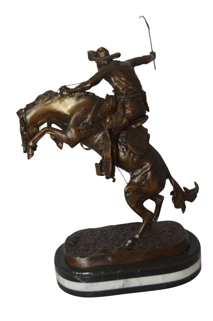 """Bronco Buster by Remington Bronze Statue on a triple marble -  21""""x 10""""x 26""""H."""
