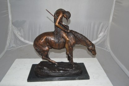 "End of the Trail by James Fraser Bronze Statue -  Size: 9""L x 21""W x 21""H."