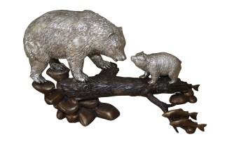 """Family bear  - Bronze Statue -  Size: 15""""L x 6""""W x 9""""H."""