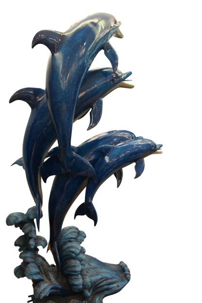 """Five Dolphins On Wave Bronze Statue/Fountain  -  Size: 47""""L x 27""""W x 84""""H."""