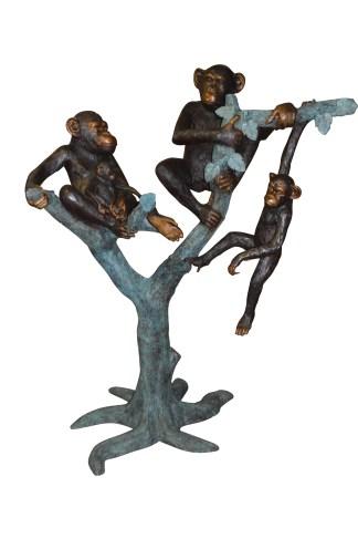"Four Monkeys On A Tree Bronze Statue  -  Size: 35""L x 61""W x 80""H."
