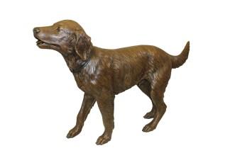 "Golden retriever dog standing - Bronze Statue -  Size: 44""L x 10""W x 27""H."