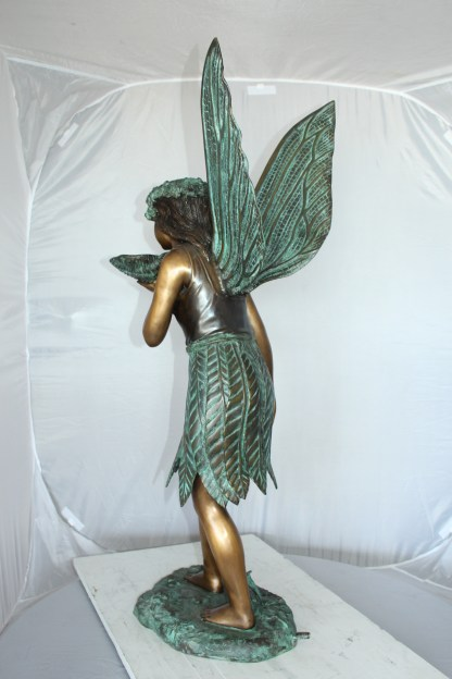 "Angel holding a shell Bronze Statue - Fountain -  Size: 18""L x 12""W x 43""H."