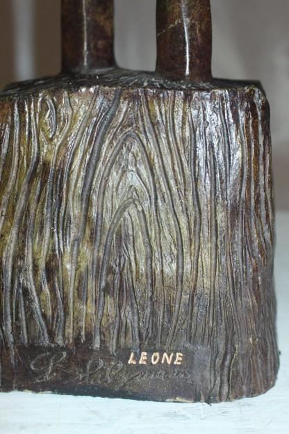"Male Female Abstract Bronze Statue -  Size: 6""L x 8""W x 31""H."