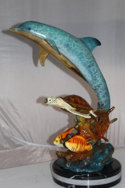 "Dolphin turtle and 2 fish Bronze Statue -  Size: 18""L x 16""W x 25""H."