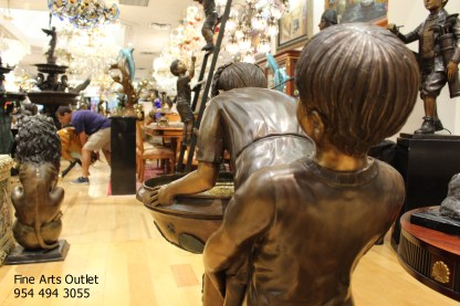 """Boy Girl Drinking From Fountain Bronze Statue -  Size: 44""""L x 24""""W x 42""""H."""