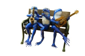 """Musical Frogs on a Bench Bronze Statue -  Size: 41""""L x 23""""W x 33""""H."""