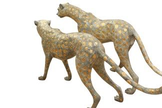 """Pair of Golden-Plated Cheetahs Bronze Statue -  Size: 58""""L x 10""""W x 31""""H."""