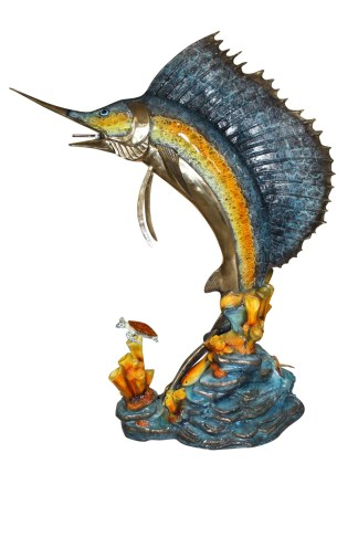 "Large Sailfish Bronze Statue -  Size: 38""L x 24""W x 67""H."