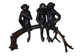 """Three monkeys on a tree log - Bronze Statue -  Size: 27""""L x 11""""W x 18""""H."""