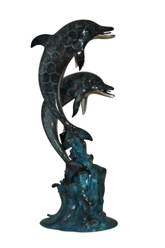 "Two Dolphins fountain Bronze Statue -  Size: 22""L x 12""W x 46""H."