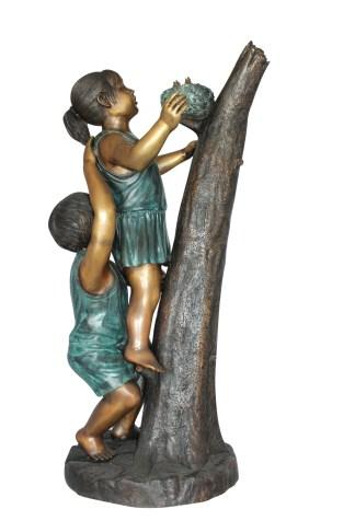 "Two Kids Climbing on a Tree Bronze Statue -  Size: 17""L x 17""W x 46""H."
