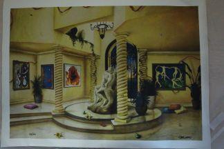 """Orlando Quevedo Giclée - The Kiss -medium Painting -  Size: 30""""L x 20.5""""W"""