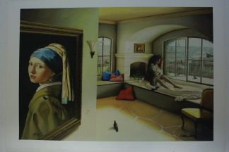 "Orlando Quevedo Giclée - Girl and Vermeer Painting -  Size: 21""L x 13.5""W"