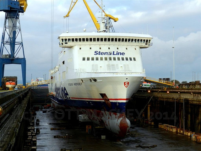 Stena Mersey in dry-dock at Harland and Wolff at the end of 2014. Copyright © Scott Mackey.