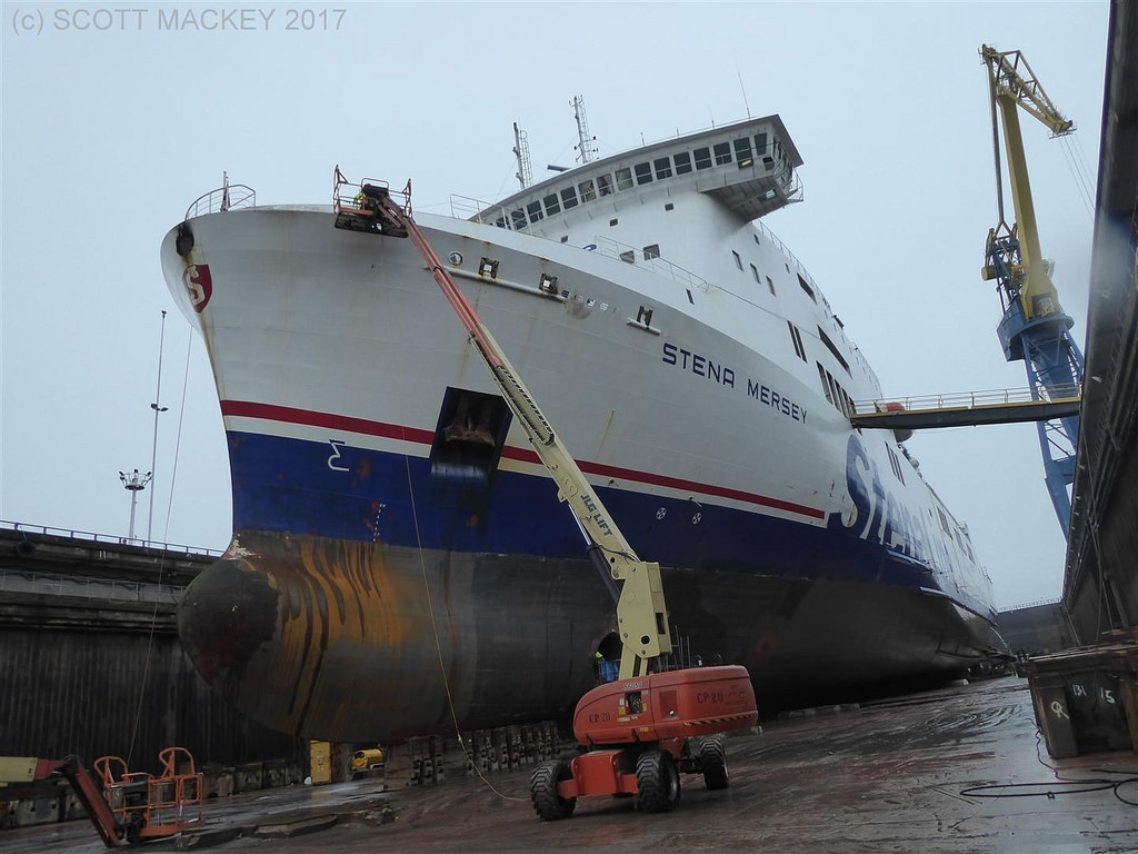 Stena Mersey in Harland & Wolff's Belfast Dry Dock, February 2016. Copyright © Scott Mackey 2017.