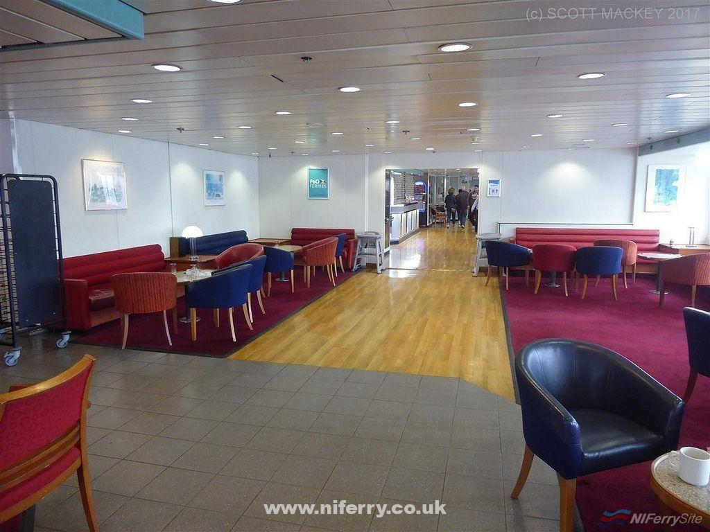 Entrance to the restaurant looking back towards the bar, European Seaway. Copyright © Scott Mackey.