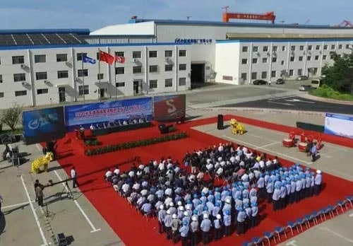 The steel cutting ceremony for Stena's new generation of RoPax's, Stena E-Flexer. AVIC