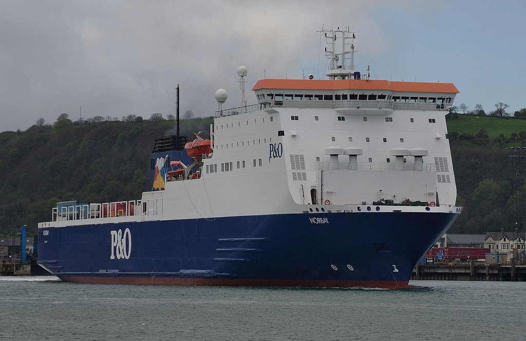 P&O's NORBAY leaves Larne during May 2013 while on refit relief duty. Copyright © Alan Geddes.