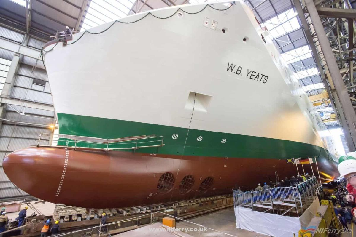 The hull of W.B. YEATS on the covered slipway at FSG just prior to her launch at 12:00 on 19th of January 2018. Irish Ferries.