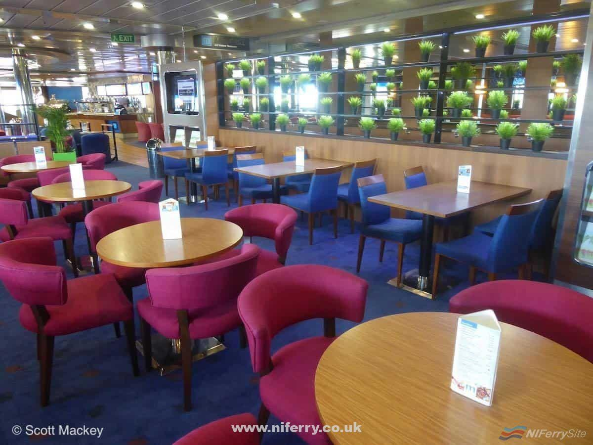 The area previously occupied by the Stena Plus lounge on STENA MERSEY, which has returned to seating for the Metropolitan Bar and Grill. Copyright © Scott Mackey