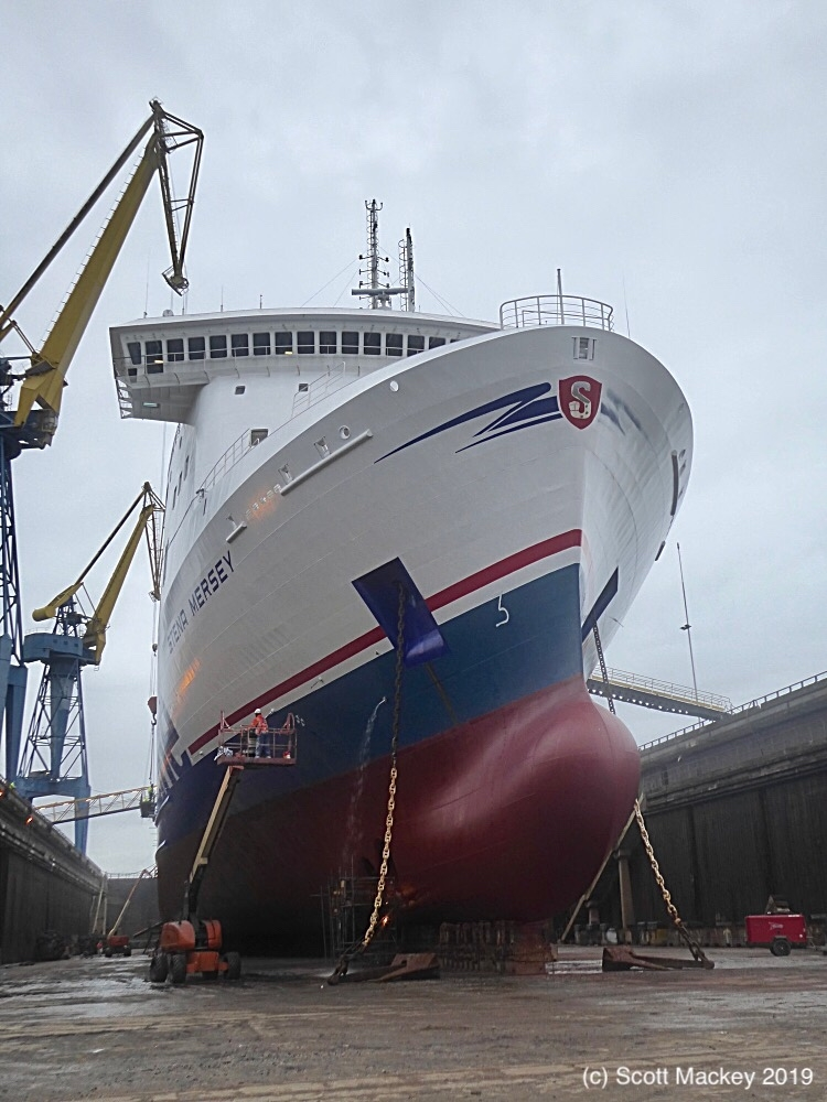 STENA MERSEY in dry dock at Harland & Wolff, January 2019. Copyright © Scott Mackey.