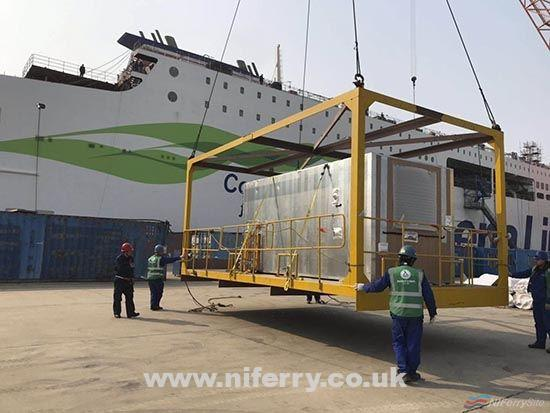 The first of 239 cabin units to be fitted to STENA ESTRID is hoisted onto the vessel. AVIC Weihai.