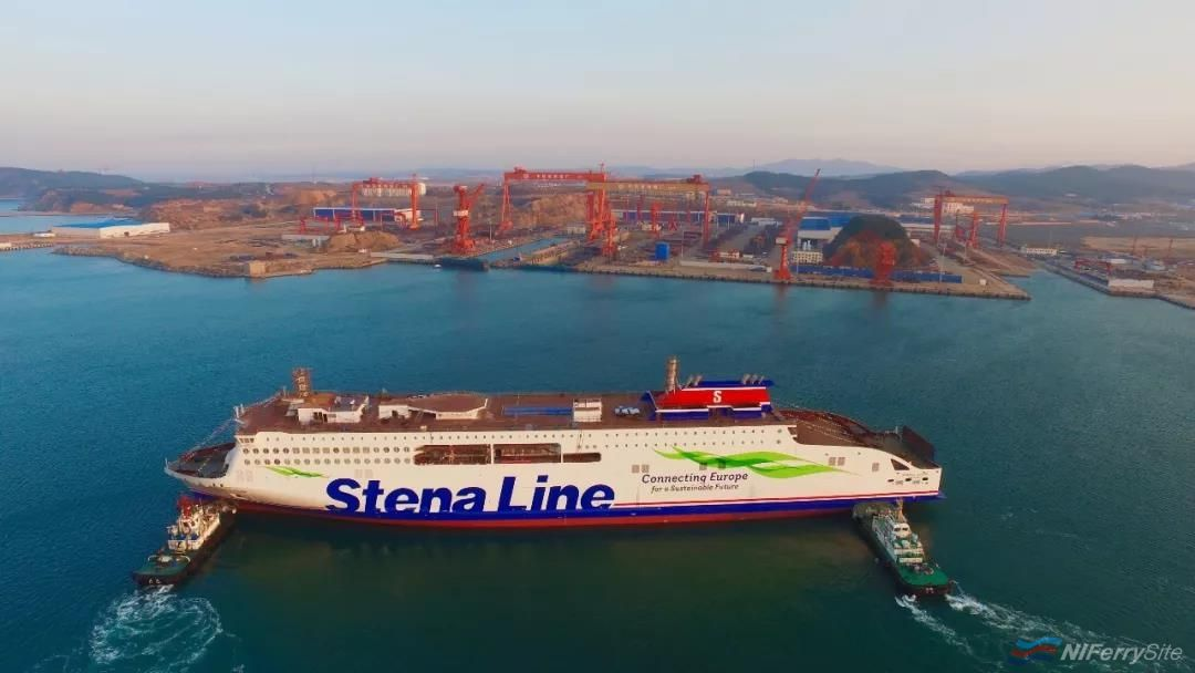 STENA EDDA is manoeuvred out of the building dock at AVIC Weihai following floating out on April 15th 2019. AVIC Ship.