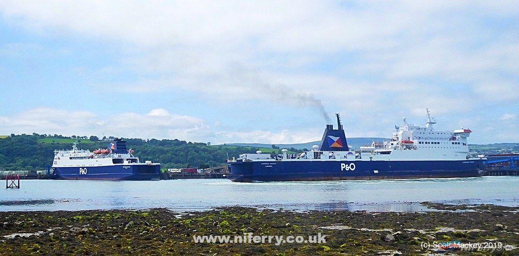EUROPEAN SEAWAY and EUROPEAN HIGHLANDER seen together at Larne during June 2019. Copyright © Scott Mackey.