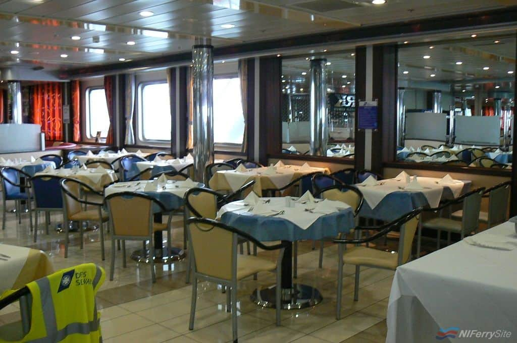 "The ""Road Kings"" dining area on LAGAN SEAWAYS as it appeared during January 2011. Copyright © Scott Mackey."