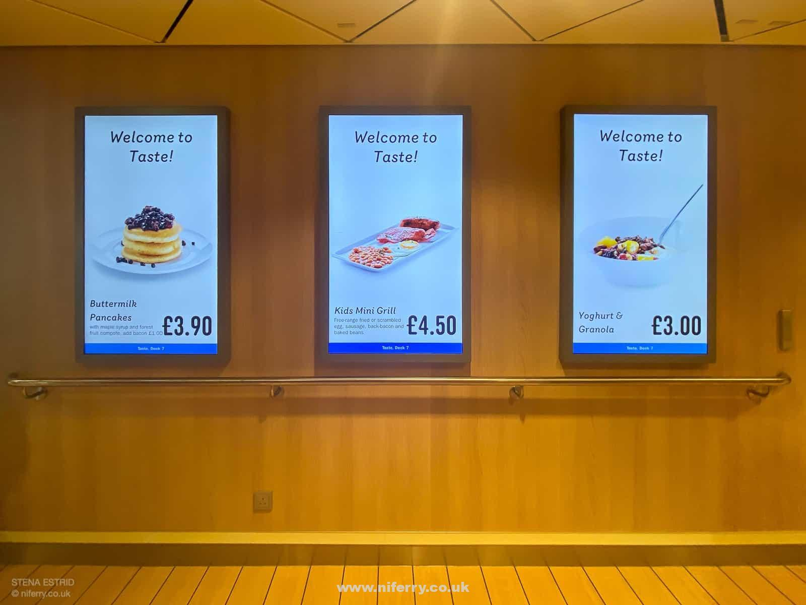 Interactive digital menu boards outside the 'Taste' restaurant, Stena Estrid. © NIferry.co.uk