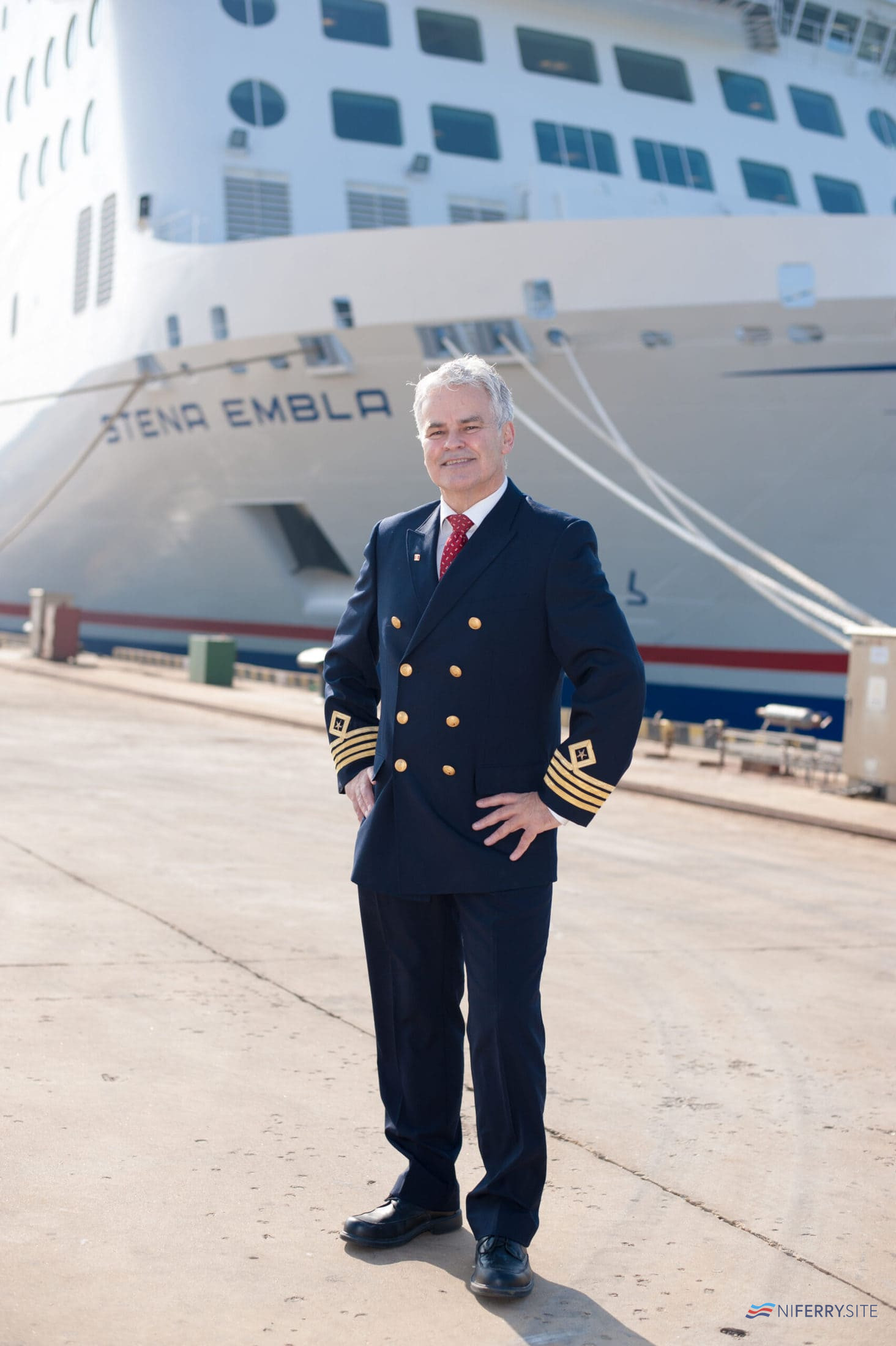 Senior Master Captain Neill Whittaker with STENA EMBLA. Stena Line