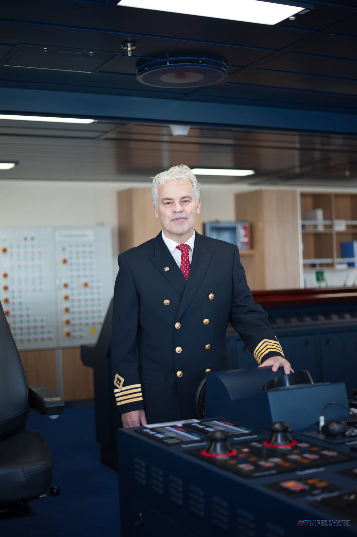 Senior Master Captain Neill Whittaker at the bridge of STENA EMBLA. Stena Line
