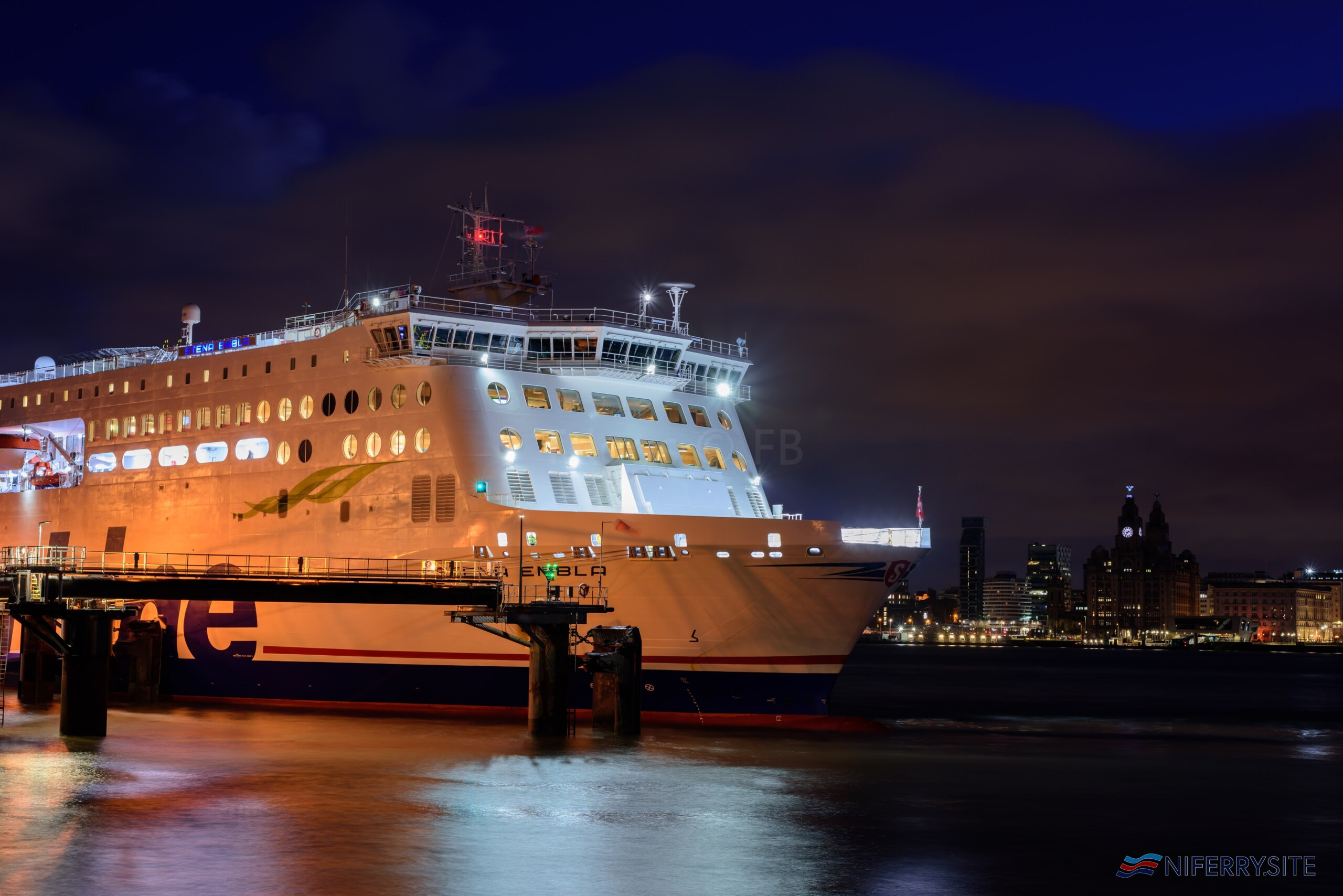 STENA EMBLA seen at Birkenhead on the morning of her first arrival at the port, 25.01.2021. Copyright © Christopher Triggs.