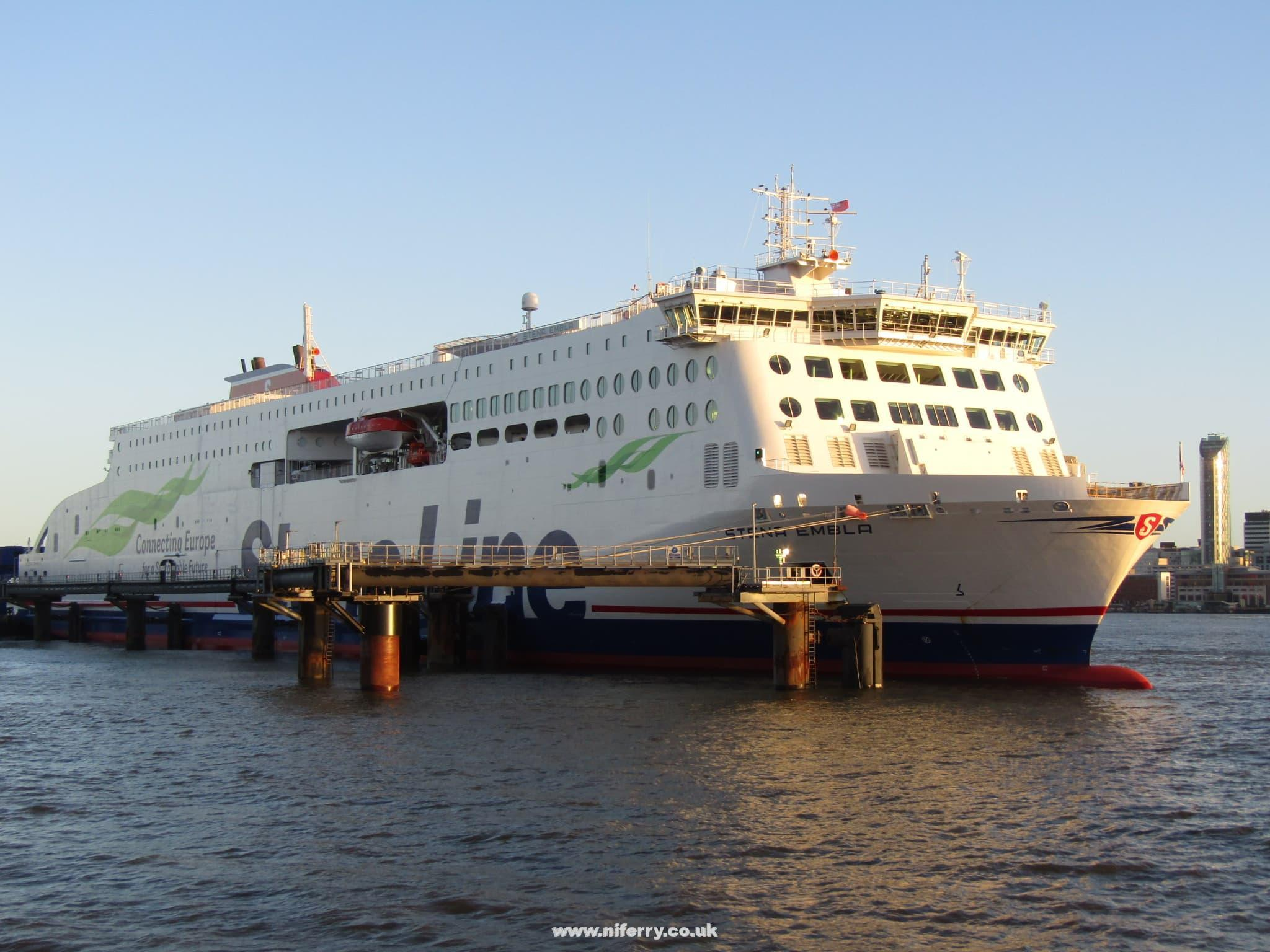 STENA EMBLA seen at Birkenhead on the day of her first arrival at the port, 25.01.2021. She made her first departure from the port to Belfast that night. Copyright © Rob Foy.