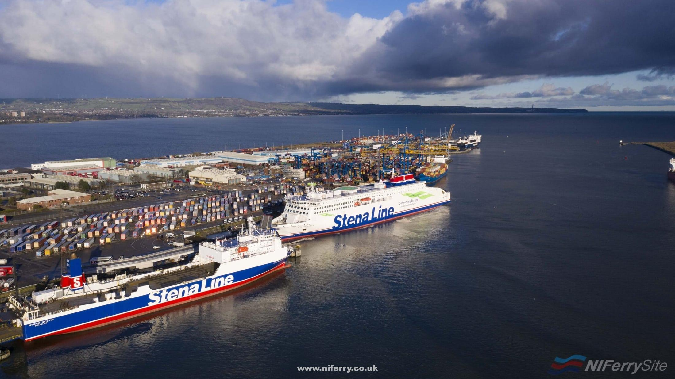 STENA EMBLA on the berth at Victoria Terminal 2 following her maiden arrival in Belfast, 02.01.2021. Ahead of her is the Belfast - Heysham freight ship STENA SCOTIA. In the background is SEATRUCK PANORAMA which is currently on charter to Stena Line as the third ship on the Belfast - Liverpool route. Stena Line.