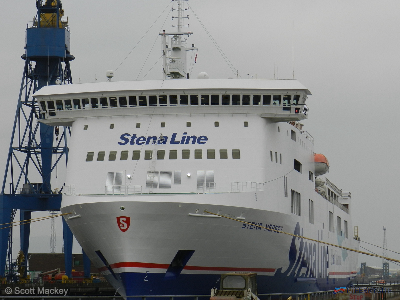 STENA MERSEY prepares to leave Belfast Dry Dock in her freshly applied Stena Line livery. Image: © Scott Mackey.