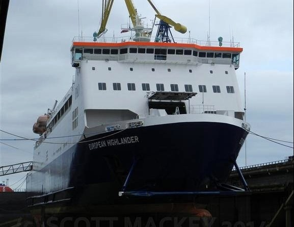 European Highlander in dry dock at Harland and Wolff. Copyright © Scott Mackey.