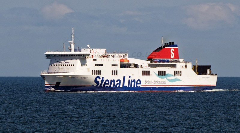 Stena Mersey pictured from Stena Lagan in July 2015, as both ships reach the half-way point of their journeys, off the Isle of Man. Copyright © Steven Tarbox