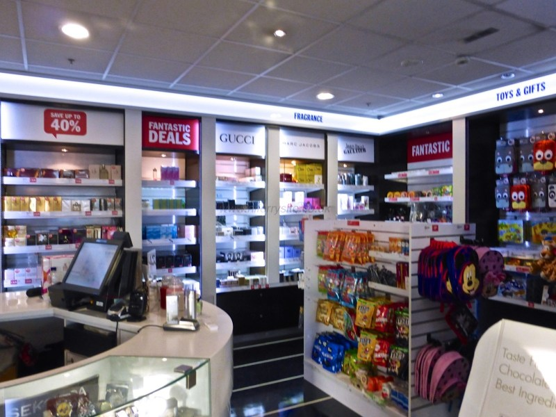 A view showing part of the onboard shop. The shop sells a selection of items including but not limited to Fragrances (some good deals when I was onboard), sweets, souvenirs and gifts, and travel essentials. The member of crew manning the shop seemed very knowledgable and keen to offer assistance in choosing fragrances. © NIFerrySite